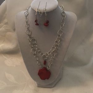 Jewelry - Lovely red coral necklace with matching earrings.